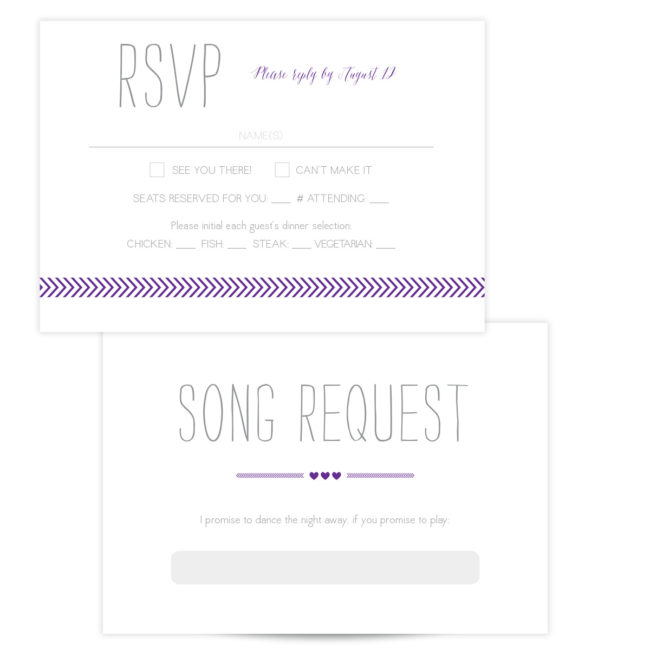 Purple and Gray RSVP Card
