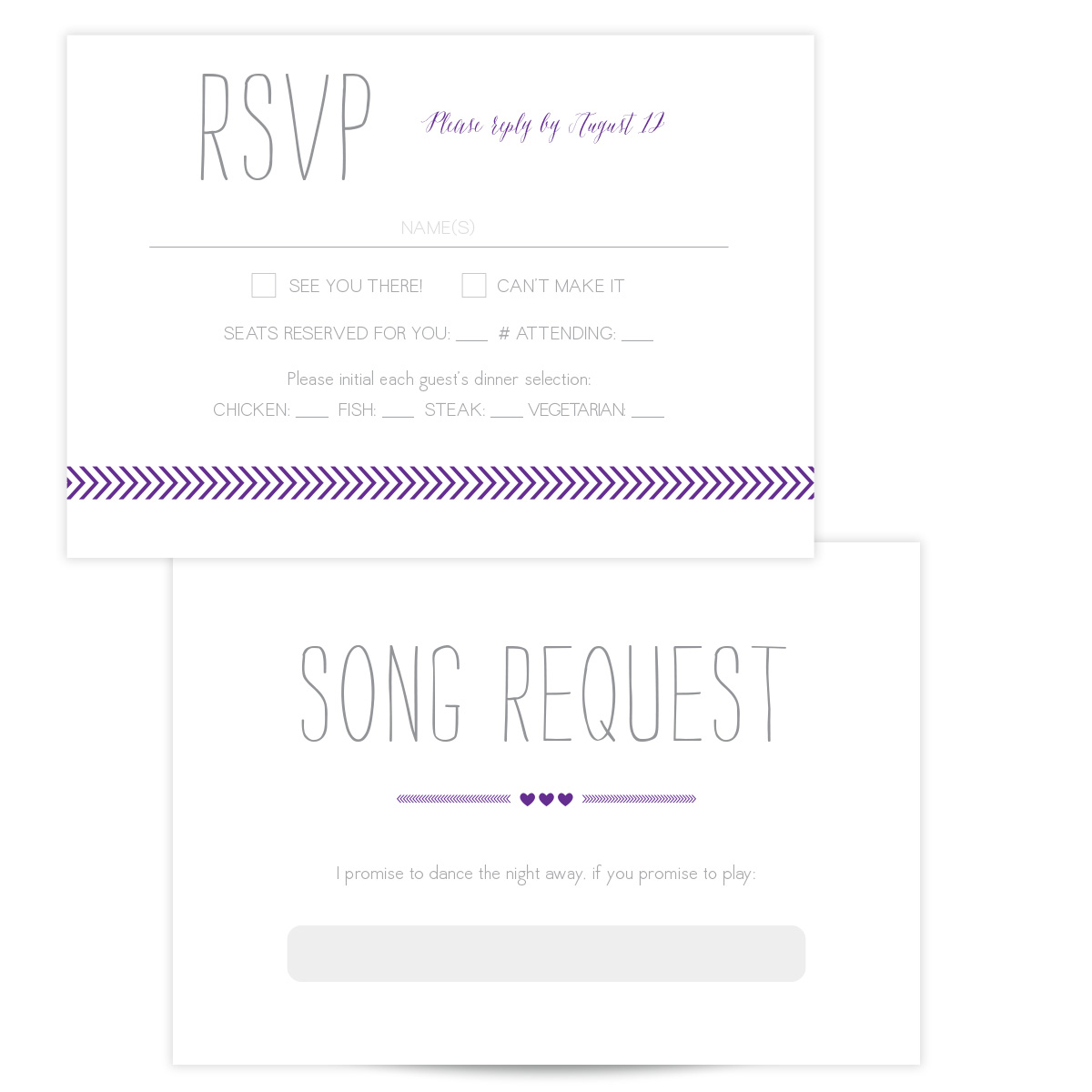 Purple Wedding Invitation - Arrow Love - Pixie