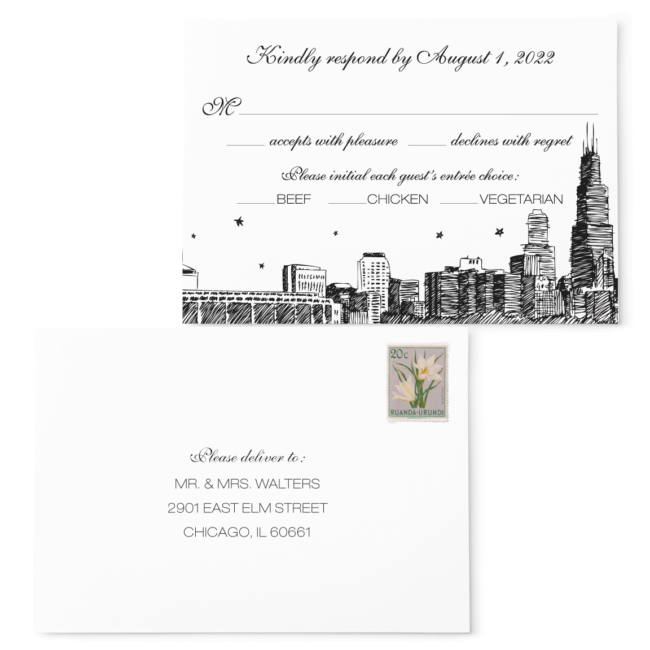 City Skyline Stars - RSVP Card