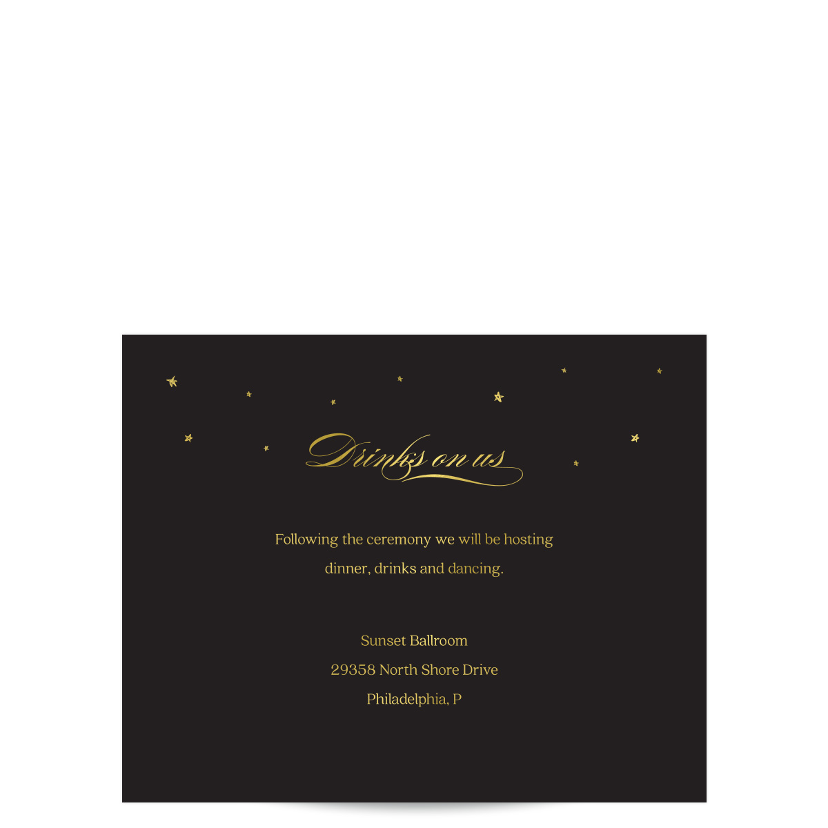 City Skyline at Night Black and Gold Wedding Invitations - Pixie