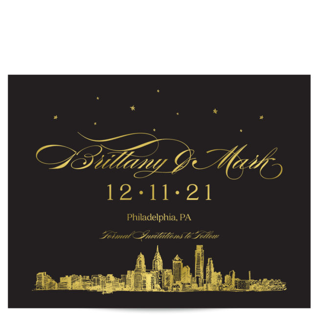 Gold Foil Save the Dates