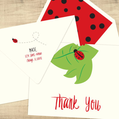 Ladybug Thank You Cards