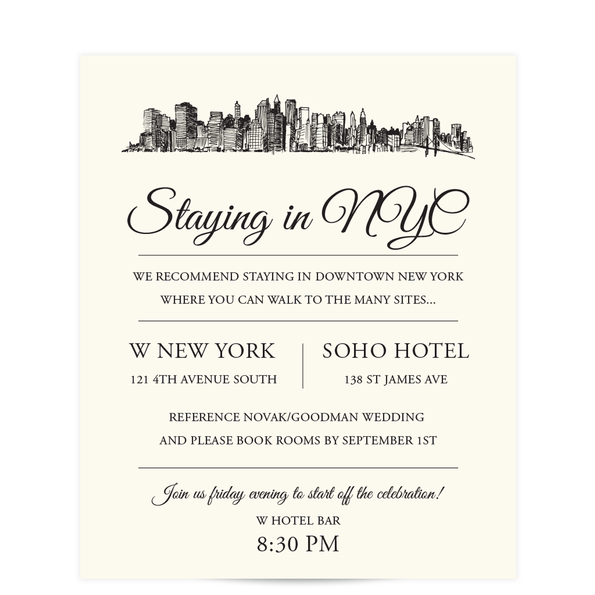 Skyline Destination City Skyline Wedding Invitations - Pixie