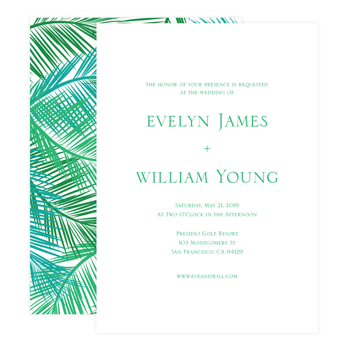 Palm Leaves Wedding Invitations - Pixie
