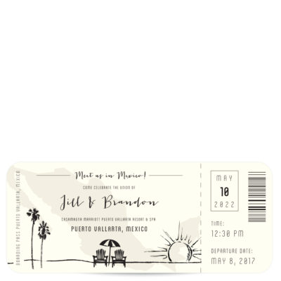 Plane Ticket Mexico Wedding Invitation