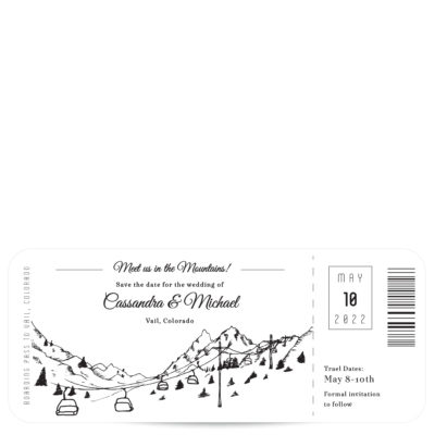 Plane Ticket Mountain Save the Date