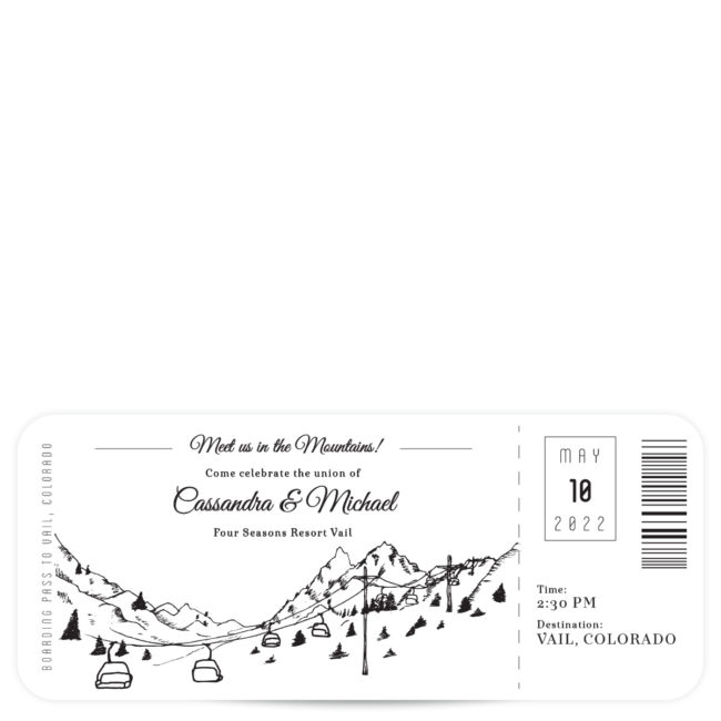 plane ticket mountain wedding invitation