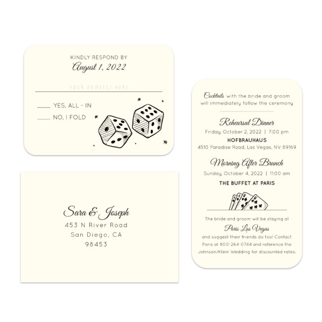 boarding pass style wedding invitation suite with RSVP card and information card featuring sketches of a set of die and a deck of cards