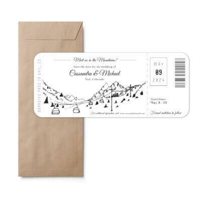 Boarding pass style save the date feature a ski lift