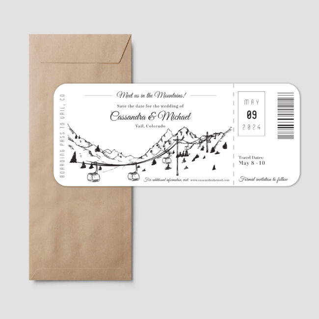 Boarding pass style save the date feature a gondola