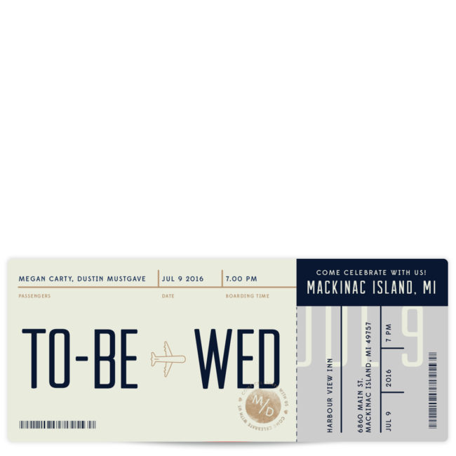 boarding pass wedding invitations for a destination ceremony