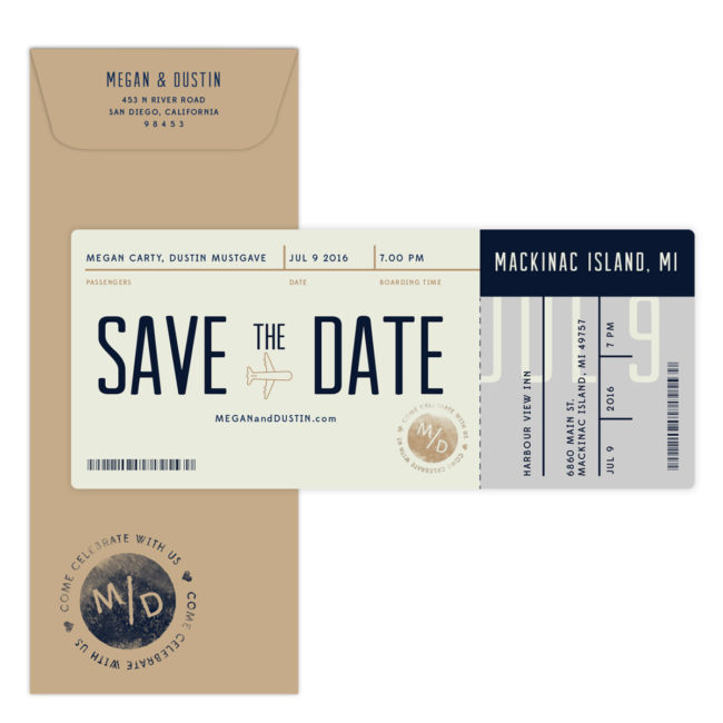 boarding pass save the date ceremony