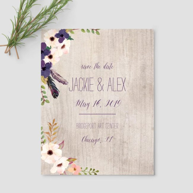 Boho Floral Save the Date