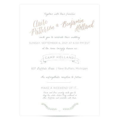 by the water lake wedding invitaitons