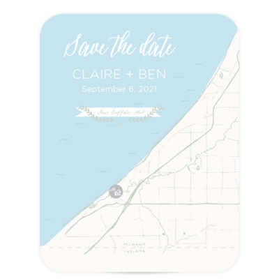 by the water lake save the date