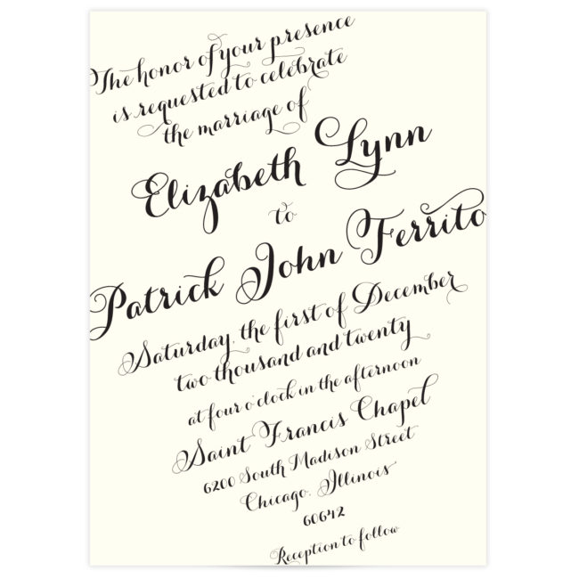 script wedding invitations elegant
