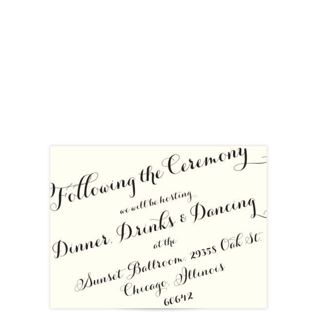 Black Script Wedding Invitation