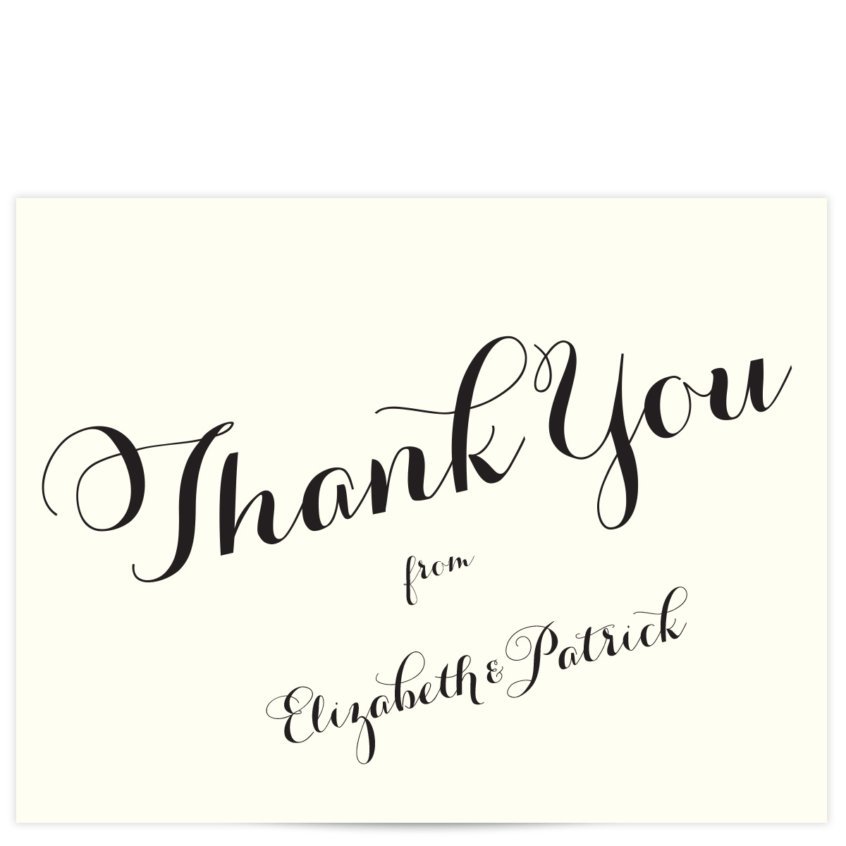 carolyna ivory with black script thank you cards  pixie