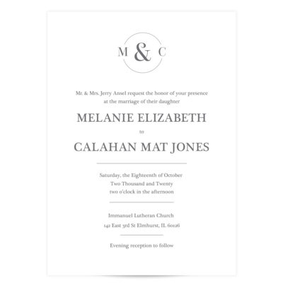 circle initial wedding invitations