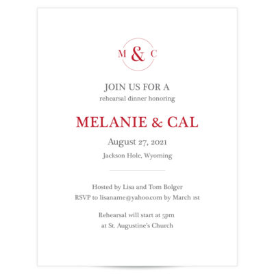 circle initials couple rehearsal dinner invitations
