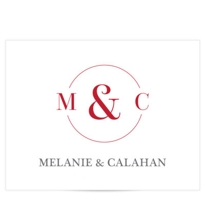 Red monogram stationery