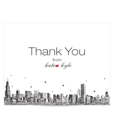 City Skyline Thank You Card