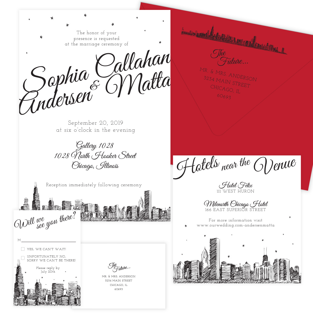 Diagonal Skyline City Skyline Wedding Invitations - Pixie