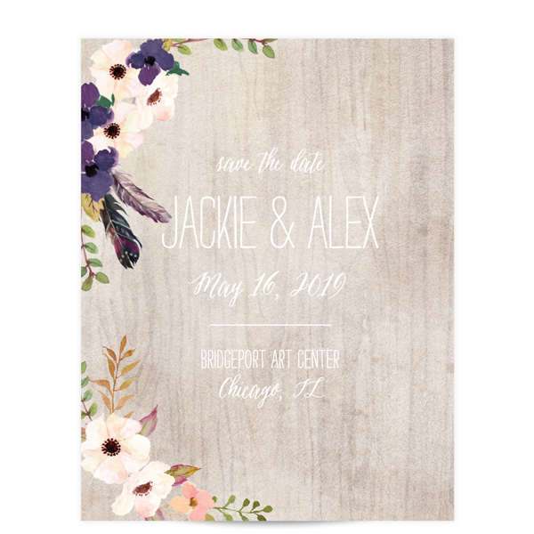 wood flower vintage save the date