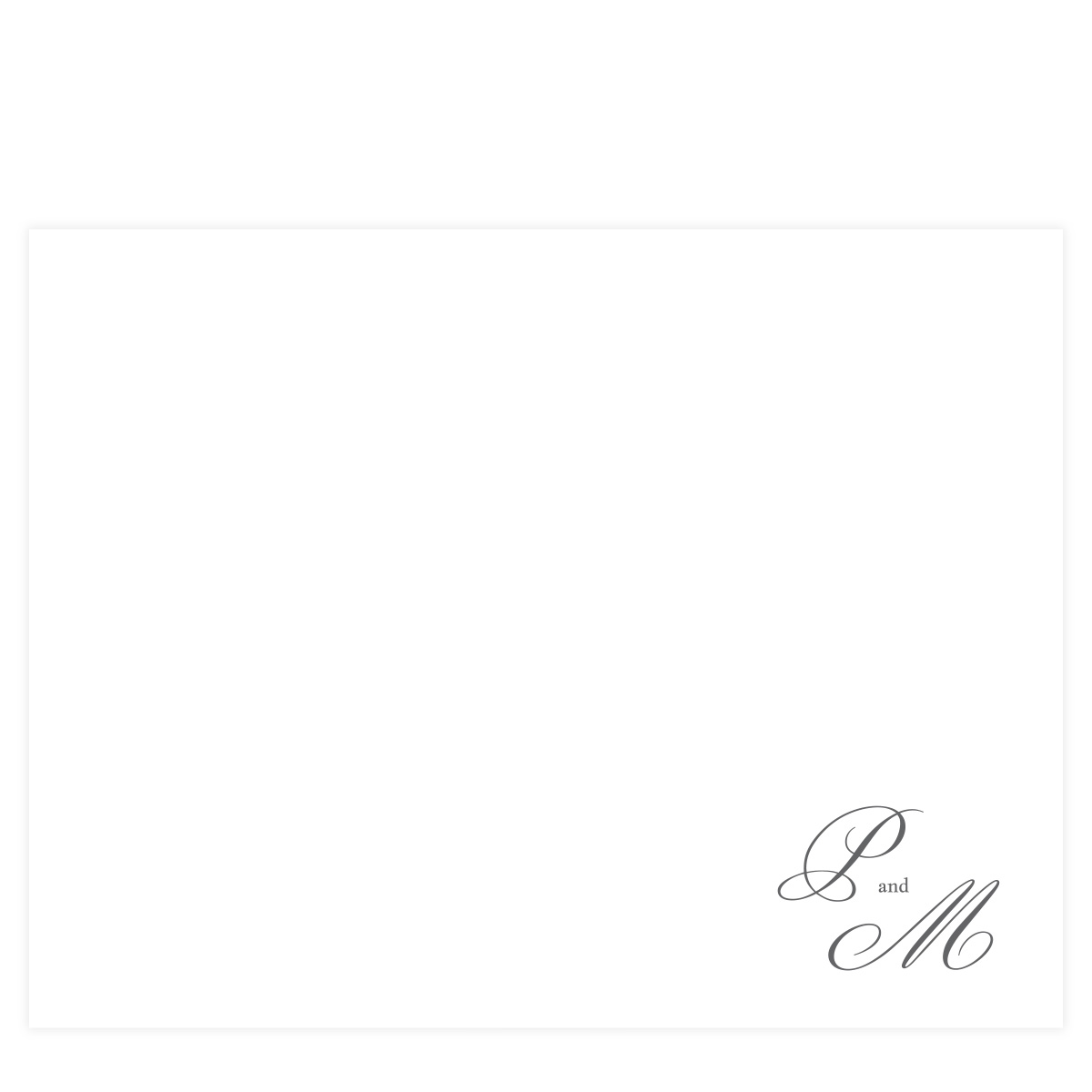 gray initial script stationery