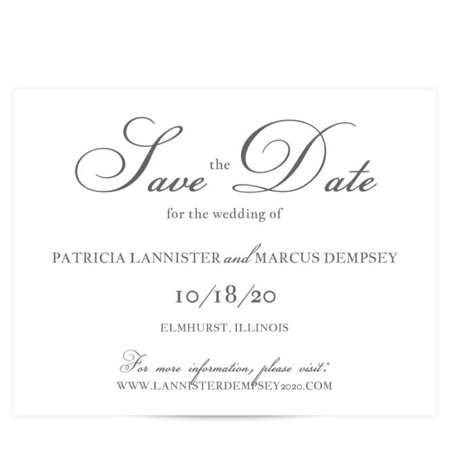 gray simple script save the date