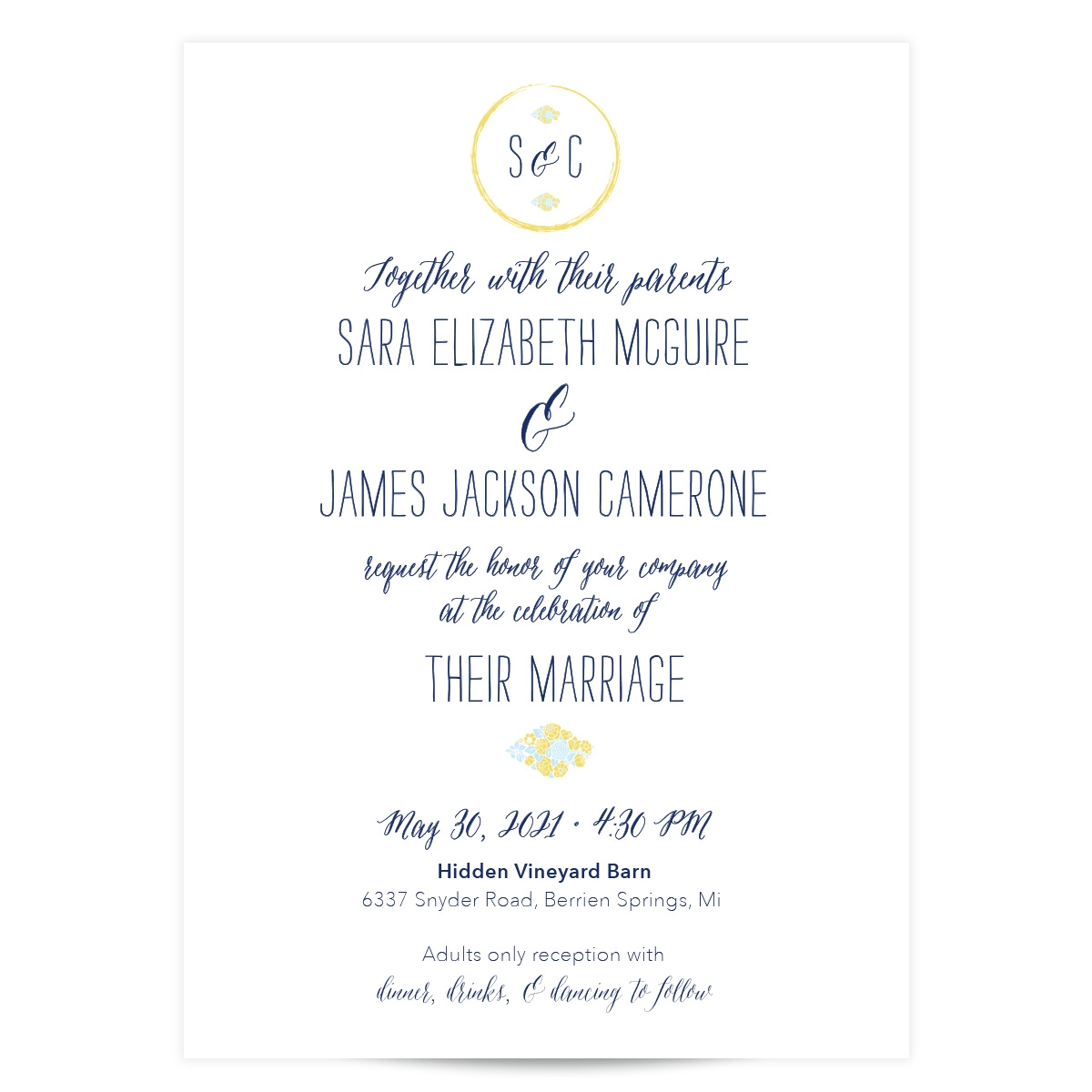 Navy Blue and Yellow Floral Wedding Invitation - In the Garden - Pixie