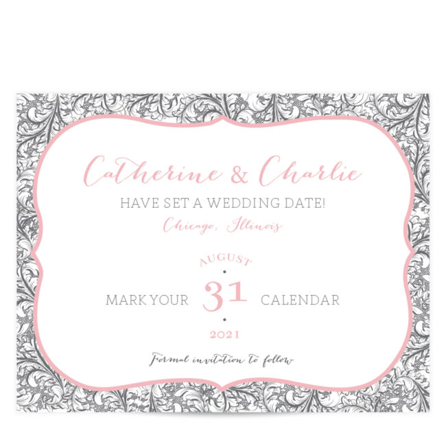 Gray and Pink Save the Date