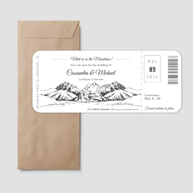 Boarding pass style save the date feature mountain sketch with a lake