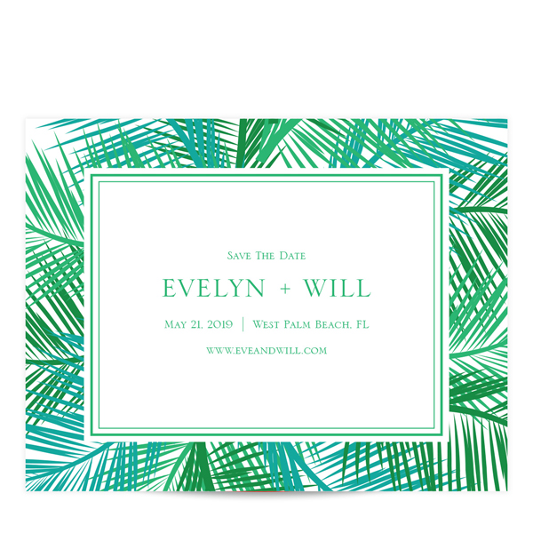 Palm Leaves Save the Date