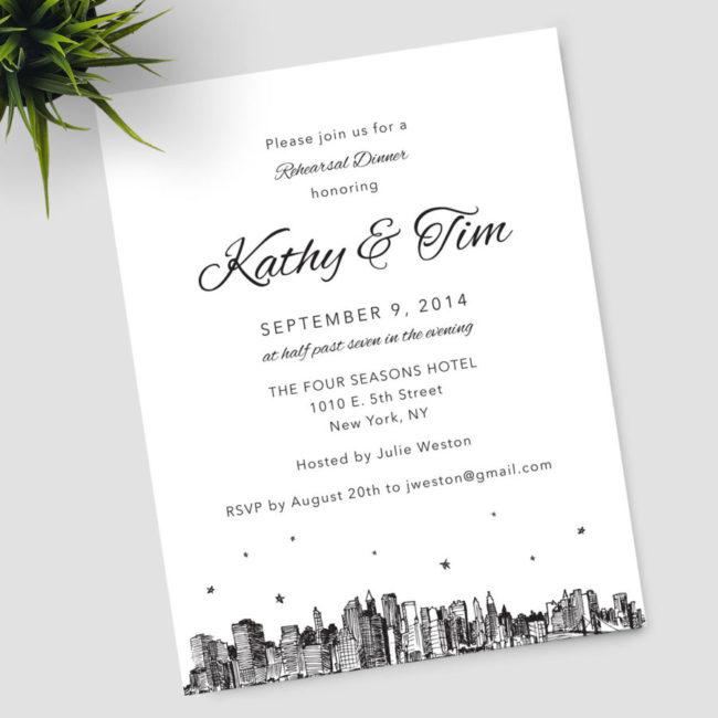 City Skyline Stars Rehearsal Dinner Invitation