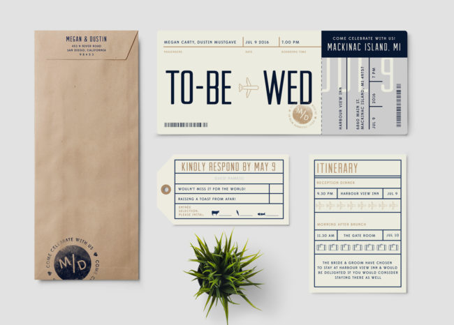 Plane Ticket Wedding Invitation