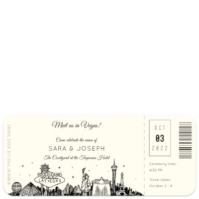 boarding pass style wedding invitation with sketch of las vegas skyline