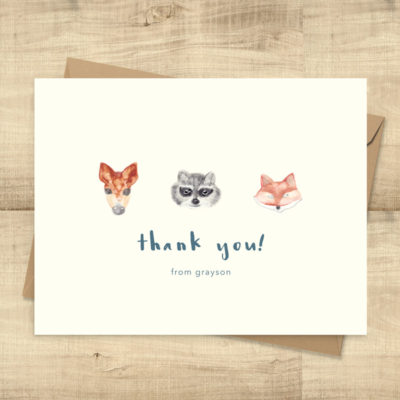 Woodland Animals Thank You Cards -