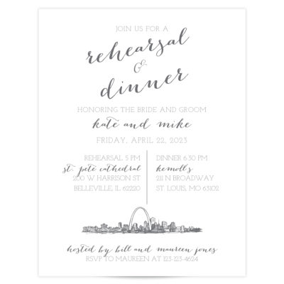 gray and white rehearsal dinner invitations