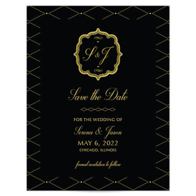 Gold and Black Wedding Invitation