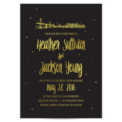 Skyline Wedding Invitations Gold Foil on Black Card Stock