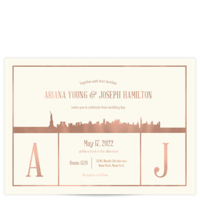 rose gold wedding invitation