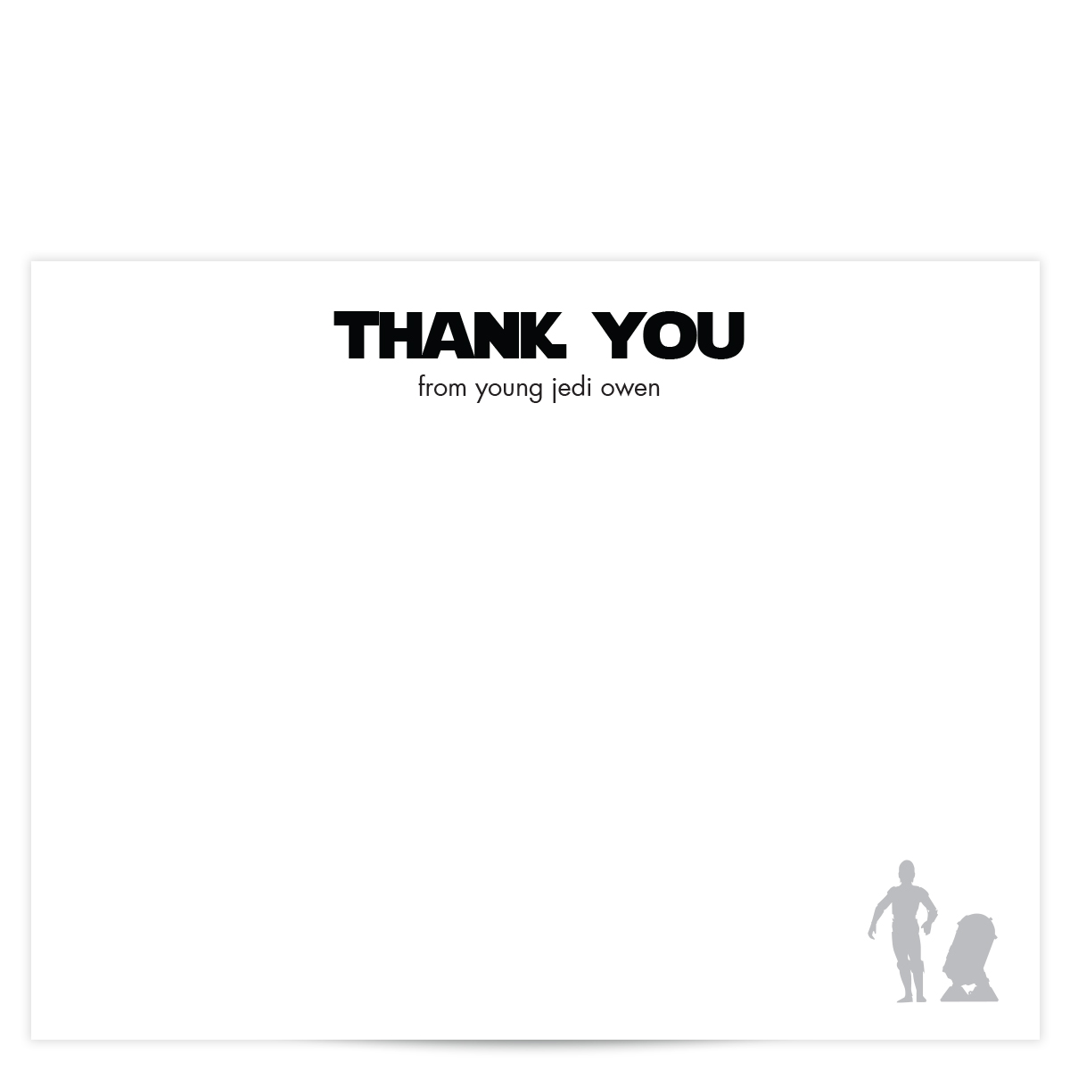 Star Wars Thank You Card - Pixie