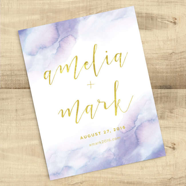 Lavender Watercolor Gold Save the Date