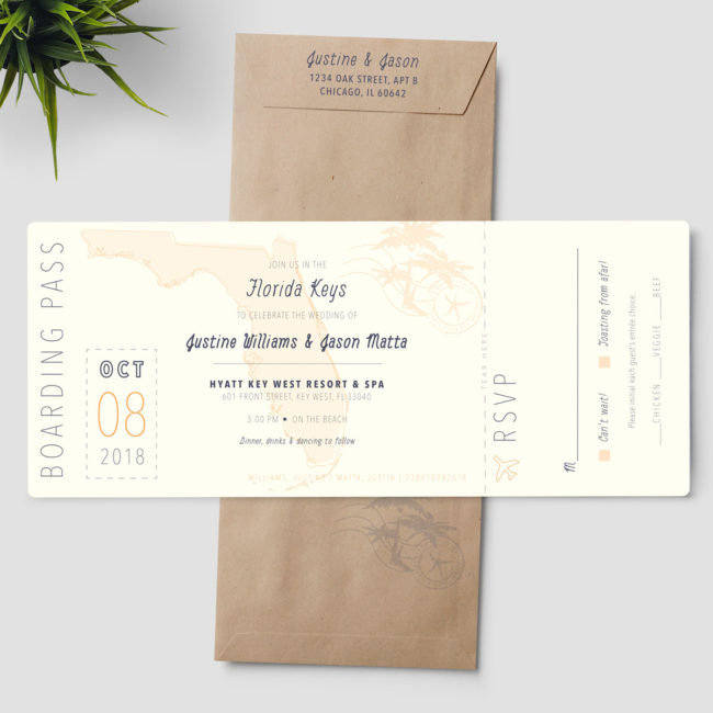 Florida Boarding Pass Wedding Invitation