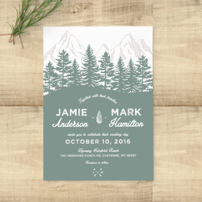 Forest Rustic Sage Wedding Suite