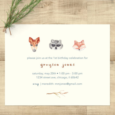 Woodland Animals Watercolor Birthday Invitations