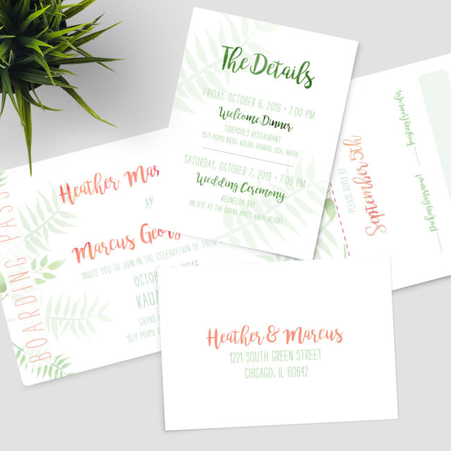 Hawaii Boarding Pass Wedding Invitation