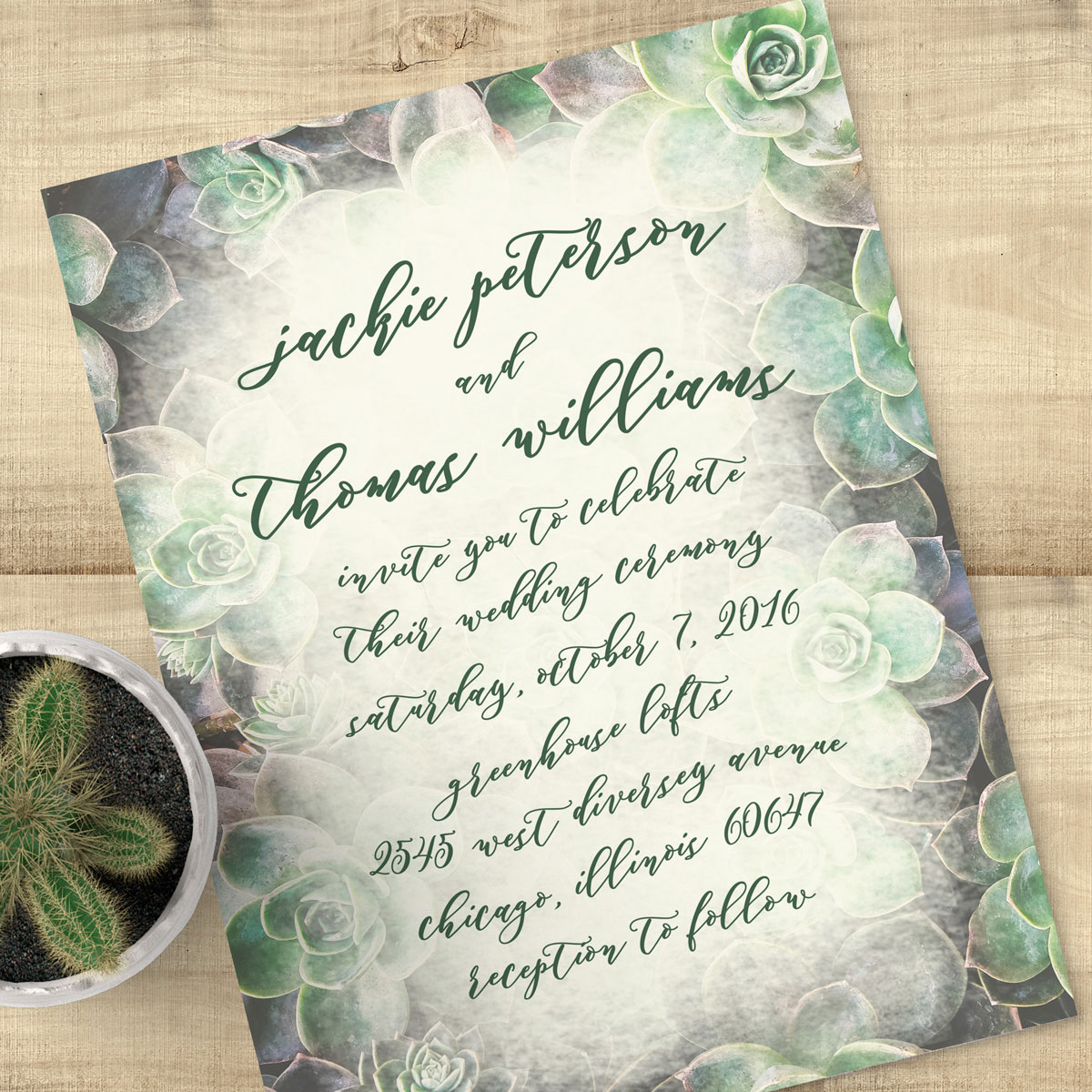 Succulent Wedding Invitation Suite Suite Succulents Pixie