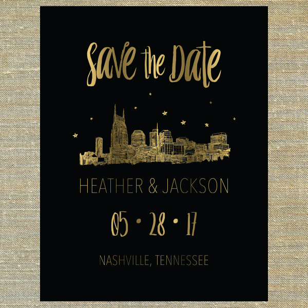 Gold Foil and Black Skyline Save the Date